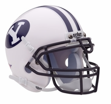 BYU Cougars White Schutt Authentic Mini Helmet