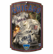 Chicago Cubs Wood Sign w/ Throwback Jersey