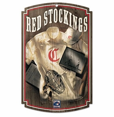 Cincinnati Reds Wood Sign w/ Throwback Red Stockings Jersey