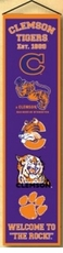 Clemson Tigers Wool 8x32 Heritage Banner