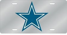 Dallas Cowboys Laser Cut Silver License Plate