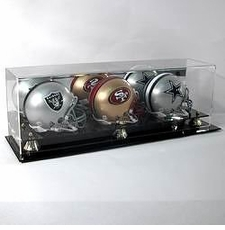Deluxe Acrylic Triple Mini Football Helmet Display Case