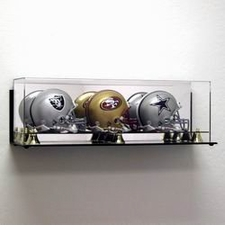 Deluxe Acrylic Triple Mini Football Helmet Display Case - Wall Mountable