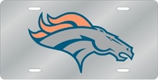 Denver Broncos Laser Cut Silver License Plate