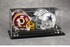 Dual Mini Helmets Display Case with Gold Risers