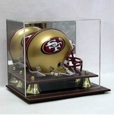 Executive Acrylic Mini Helmet Display Case with Leather Base