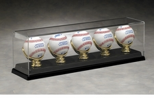 Five Baseball Acrylic Display Case with Gold Glove Holders