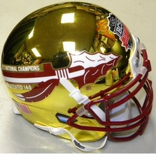 Florida State Seminoles 2013 National Champions 14-0 Gold Chrome Schutt Authentic Mini Helmet