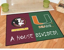 Florida State Seminoles - Miami Hurricanes House Divided Floor Mat