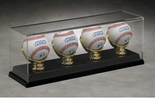 Four Baseball Acrylic Display Case with Gold Glove Holders