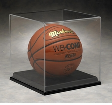 Full Size Basketball, Volleyball, or Soccer Ball Display Case with Black Vacuumed Formed Base