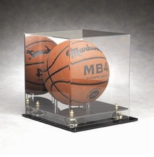 Full Size Basketball, Volleyball, or Soccer Ball Display Case with Gold Risers