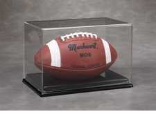Full Size Football Display Case with a Black Vacuumed Formed Base
