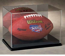 Full Size Football Display Case with a Mirror Back and Black Vacuumed Formed Base