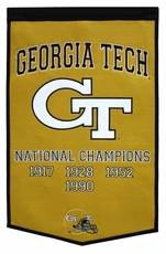 Georgia Tech Yellow Jackets 24 x 36 Football Dynasty Wool Banner
