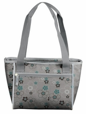 Gray Blossom 16 Can Cooler Tote