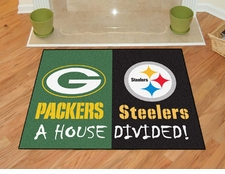 Green Bay Packers - Pittsburgh Steelers House Divided Floor Mat