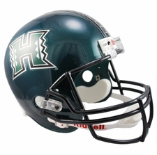 Hawaii Warriors Green Riddell Deluxe Replica Helmet