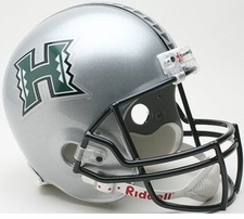 Hawaii Warriors Silver Riddell Deluxe Replica Helmet
