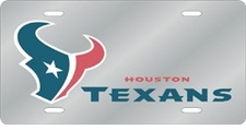 Houston Texans Laser Cut Silver License Plate
