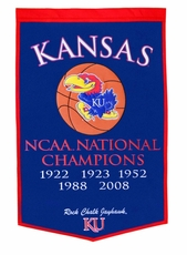 Kansas Jayhawks 24 x 36 Basketball Dynasty Wool Banner