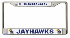 Kansas Jayhawks Chrome License Plate Frame w/Color Logo