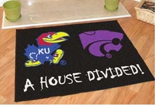 Kansas Jayhawks - Kansas State Wildcats House Divided Floor Mat