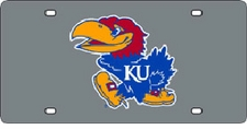 Kansas Jayhawks Silver Laser Cut License Plate