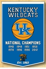 Kentucky Wildcats 24 x 36 Basketball Dynasty Wool Banner