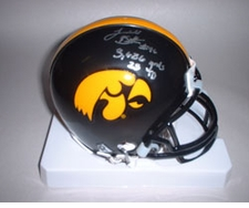 Ladell Betts Autographed Double Inscription Iowa Hawkeyes Mini Helmet