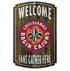 Louisiana Lafayette Ragin' Cajuns Wood Sign