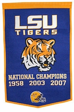LSU Tigers 2007 24 x 36 Football Dynasty Wool Banner