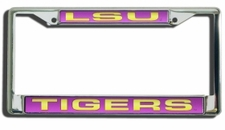 LSU Tigers Laser Cut Chrome License Plate Frame
