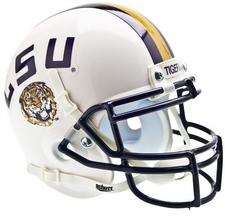 LSU Tigers White Schutt Authentic Mini Helmet