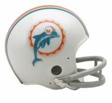 Miami Dolphins 1972 2-Bar Throwback Replica Mini Helmet