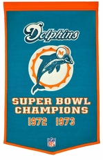 Miami Dolphins 24 x 36 Wool Dynasty Banner