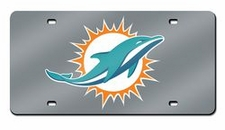 Miami Dolphins Laser Cut Silver License Plate