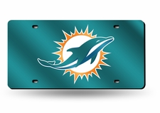Miami Dolphins Laser Cut Teal License Plate
