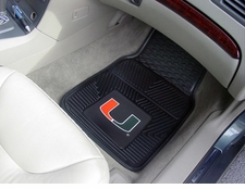Miami Hurricanes 2-Piece Heavy Duty Vinyl Car Mat Set