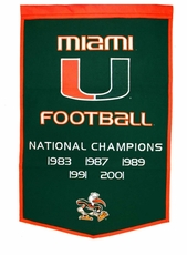 Miami Hurricanes 24 x 36 Football Dynasty Wool Banner