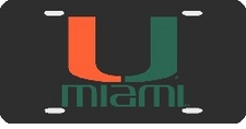 Miami Hurricanes Black Laser Cut License Plate