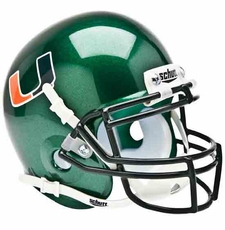 Miami Hurricanes Green Schutt Authentic Mini Helmet