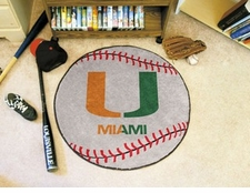 "Miami Hurricanes ""U"" 27"" Baseball Floor Mat"