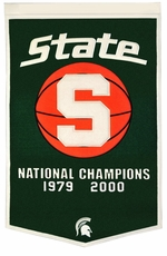 Michigan State Spartans 24 x 36 Basketball Dynasty Wool Banner