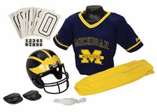 Michigan Wolverines Deluxe Youth / Kids Football Helmet Uniform Set