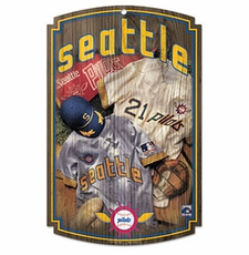 Milwaukee Brewers Wood Sign w/ Throwback Seattle Pilots Jersey