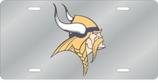 Minnesota Vikings Laser Cut Silver License Plate