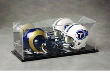 Mirrored Back Dual Mini Helmet Display Case