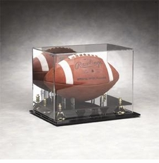 Mirrored Back Full Size Football Display Case with Gold Risers