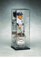 Mirrored Back Large Bobble Head Display Case with Baseball Holder